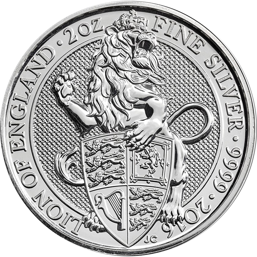 2016 UK Queen's Beasts The Lion 2oz Silver Coin Tube - (10 Coins) (Image 2)