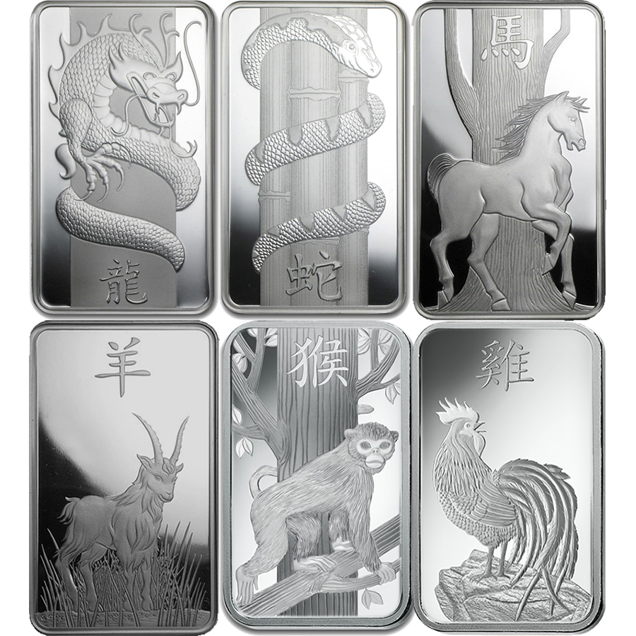 PAMP Lunar 1oz Silver 6 Bar Collection