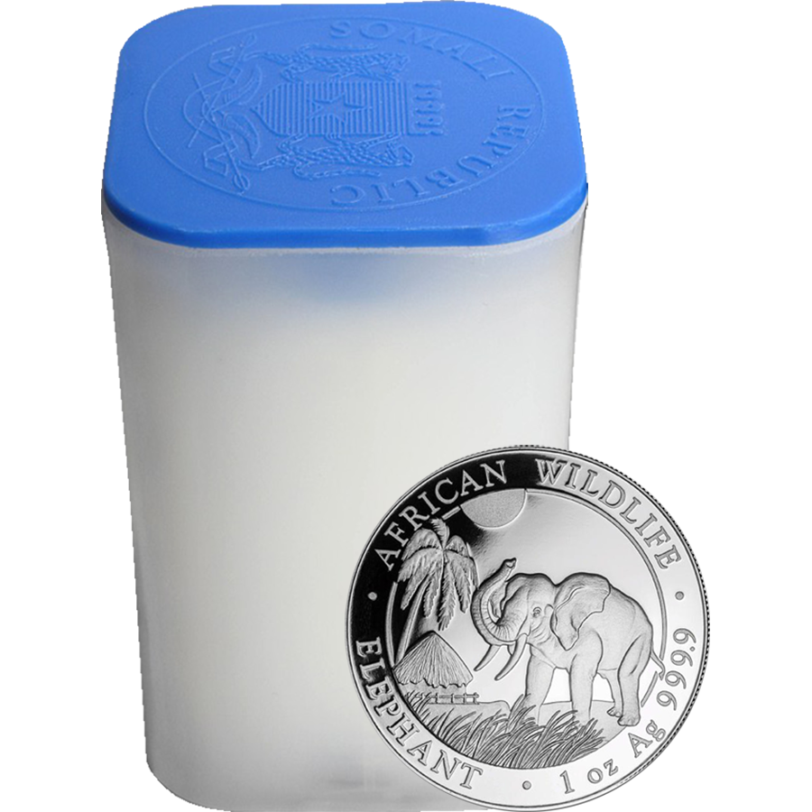 2017 Somalian Elephant 1oz Silver Coins in Tube - 20 Coins