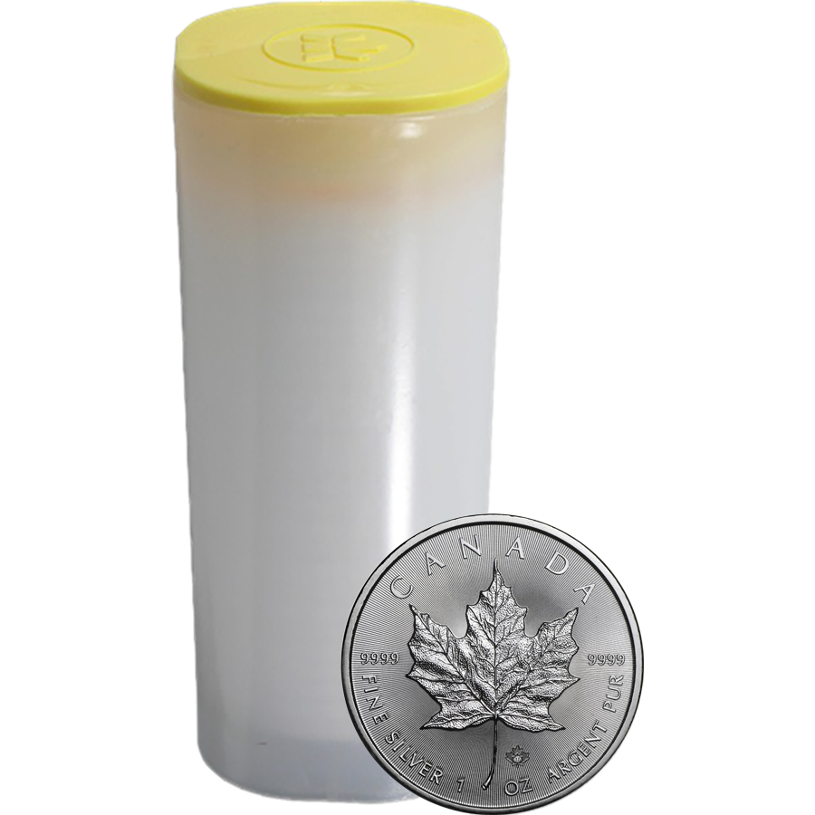 2017 Canadian Maple 1oz Silver Coins in Tube - (25 Coins)