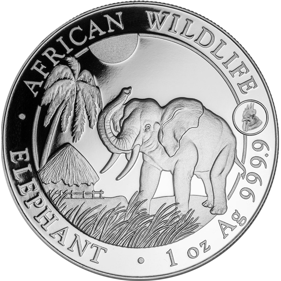 2017 Somalian Elephant Rooster Privy 1oz Silver Coin