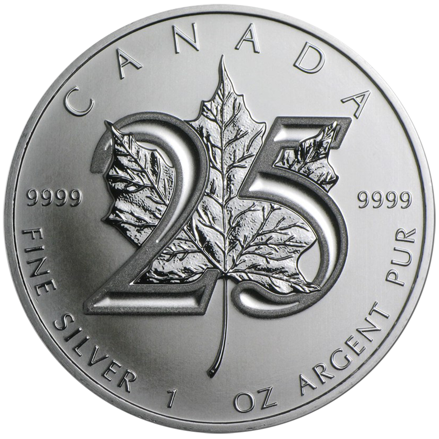 Pre-Owned 2013 Canadian Maple 1oz Silver Coin - 25th Anniversary - VAT Free