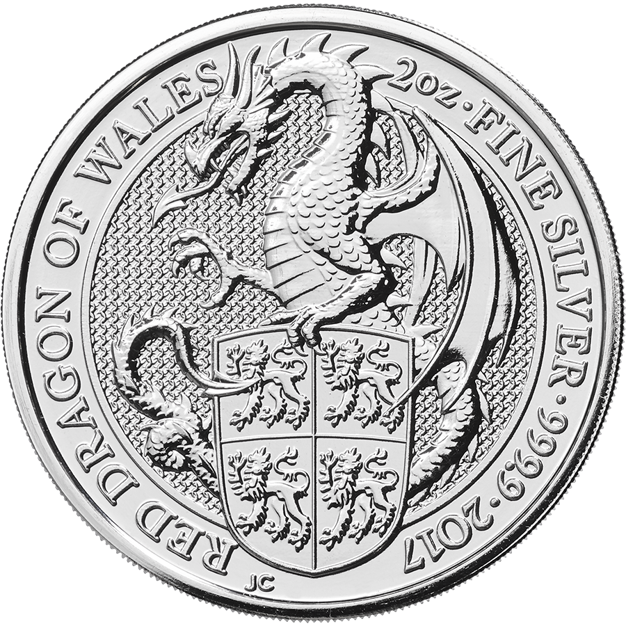 Pre-Owned 2017 UK Queen's Beasts The Dragon 2oz Silver Coin - VAT Free