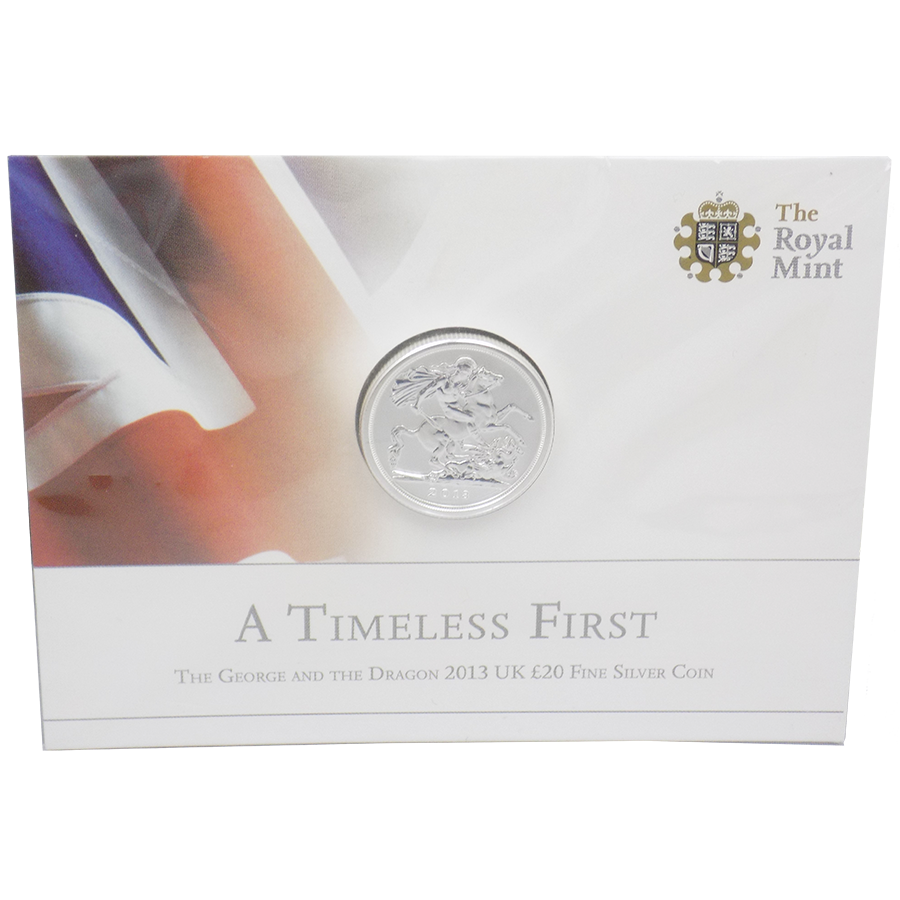 Pre-Owned 2013 UK George and The Dragon £20 Silver Coin- VAT Free