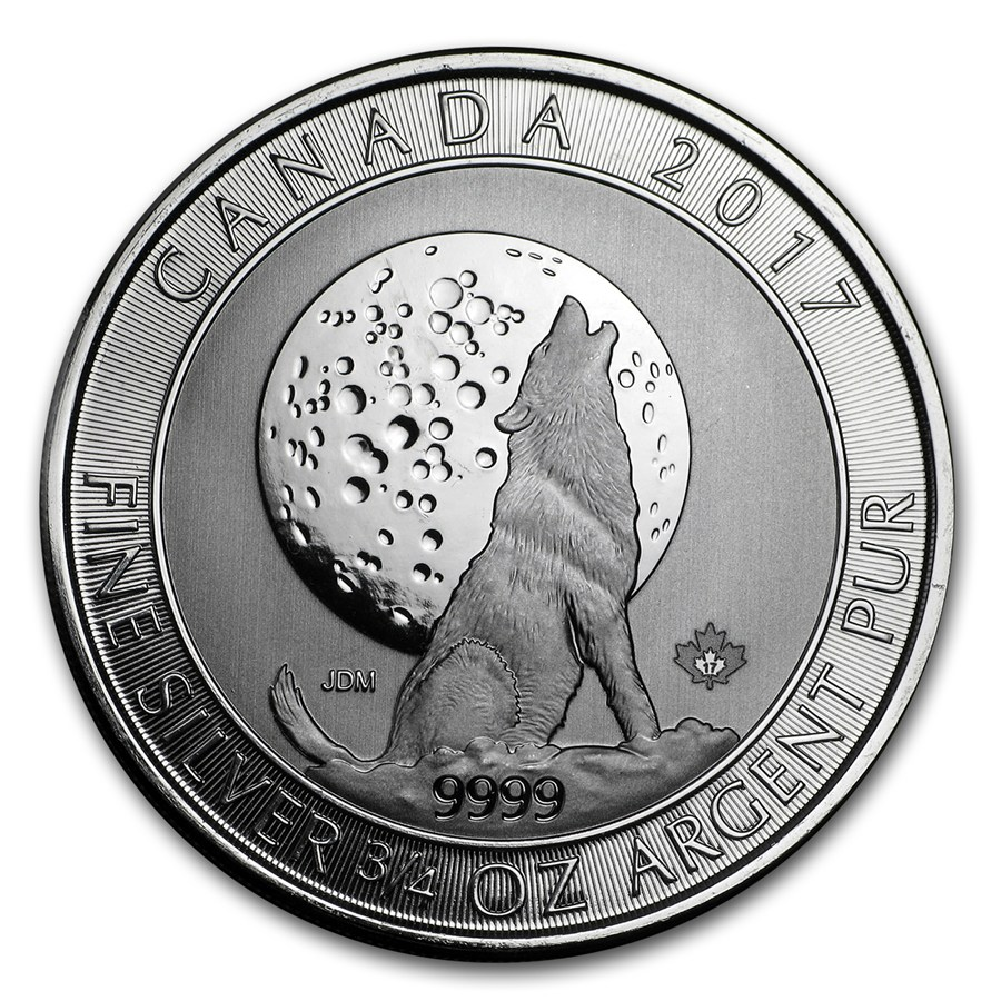 2017 Canadian Howling Wolves 3/4oz Silver Coin