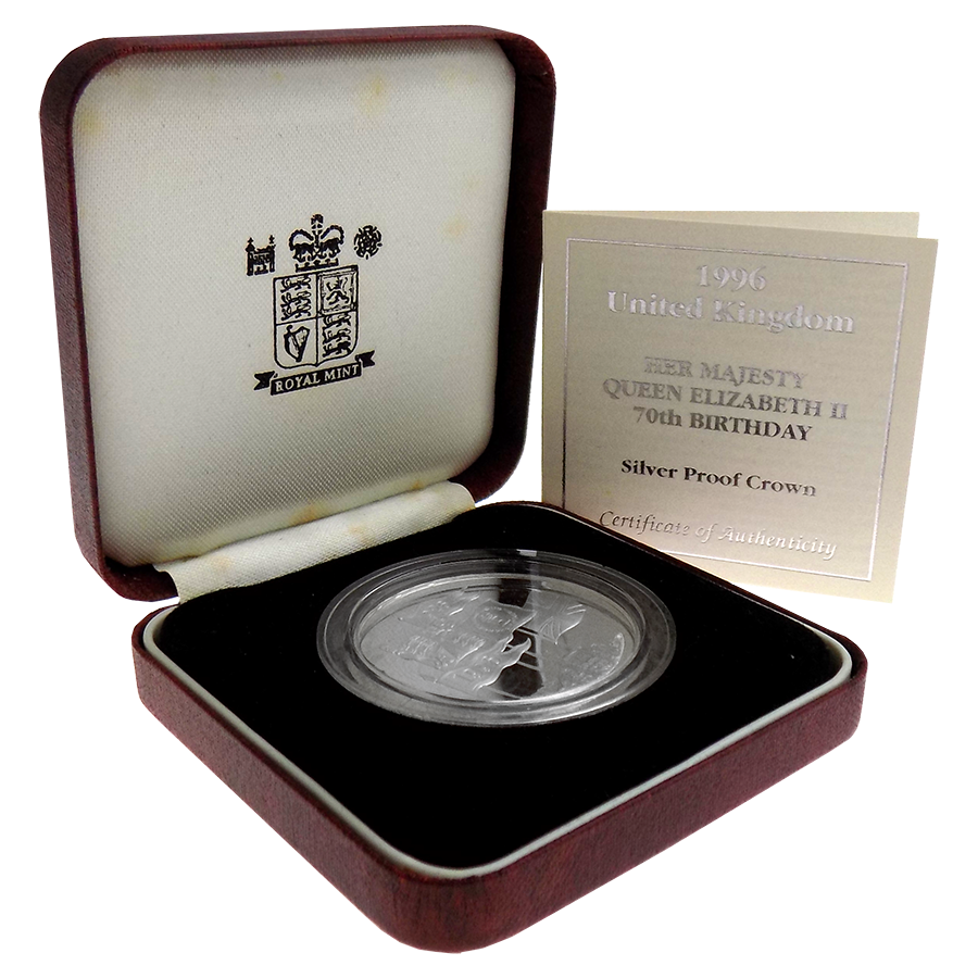 Pre-Owned 1996 UK Her Majesty Queen Elizabeth II 70th Birthday Silver Proof £5 Coin - VAT Free (Image 1)