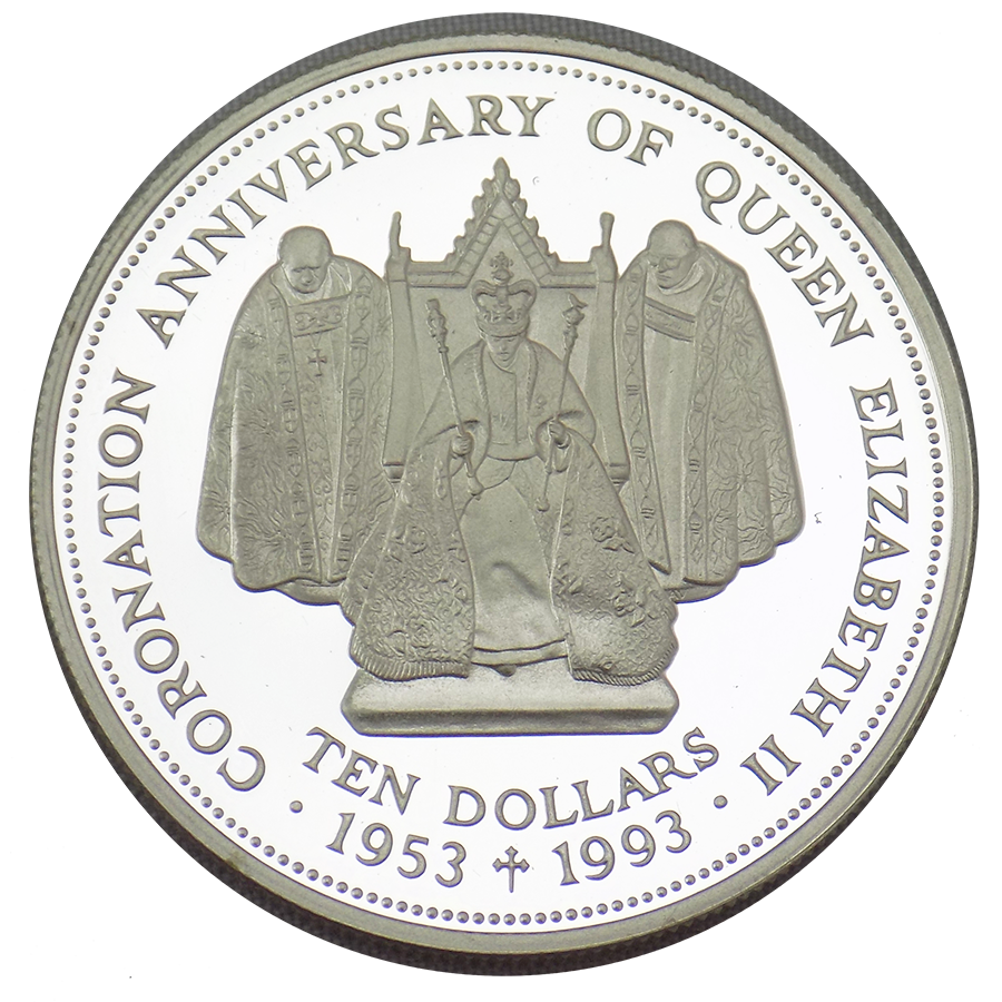 Pre-Owned 1993 Fiji Coronation Anniversary Crown Silver Proof $10 Coin - VAT Free