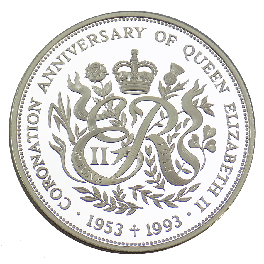 Pre-Owned 1993 Guernsey Coronation Anniversary Crown Silver Proof £2 Coin - VAT Free