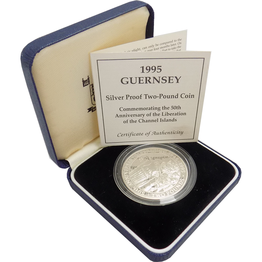 Pre-Owned 1995 Guernsey Proof £2 Anniversary of Channel Islands Liberation Silver Coin - VAT Free