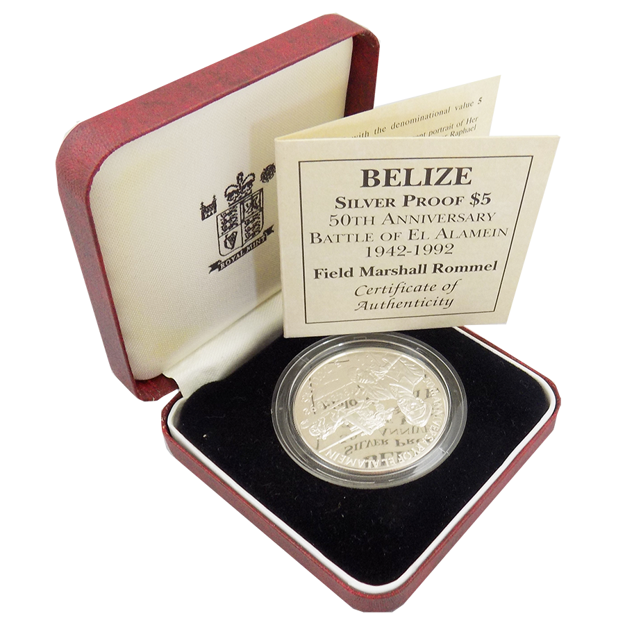 Pre-Owned 1992 Belize 50th Anniversary Battle of El Alamein $5 Silver Proof Coin - VAT Free
