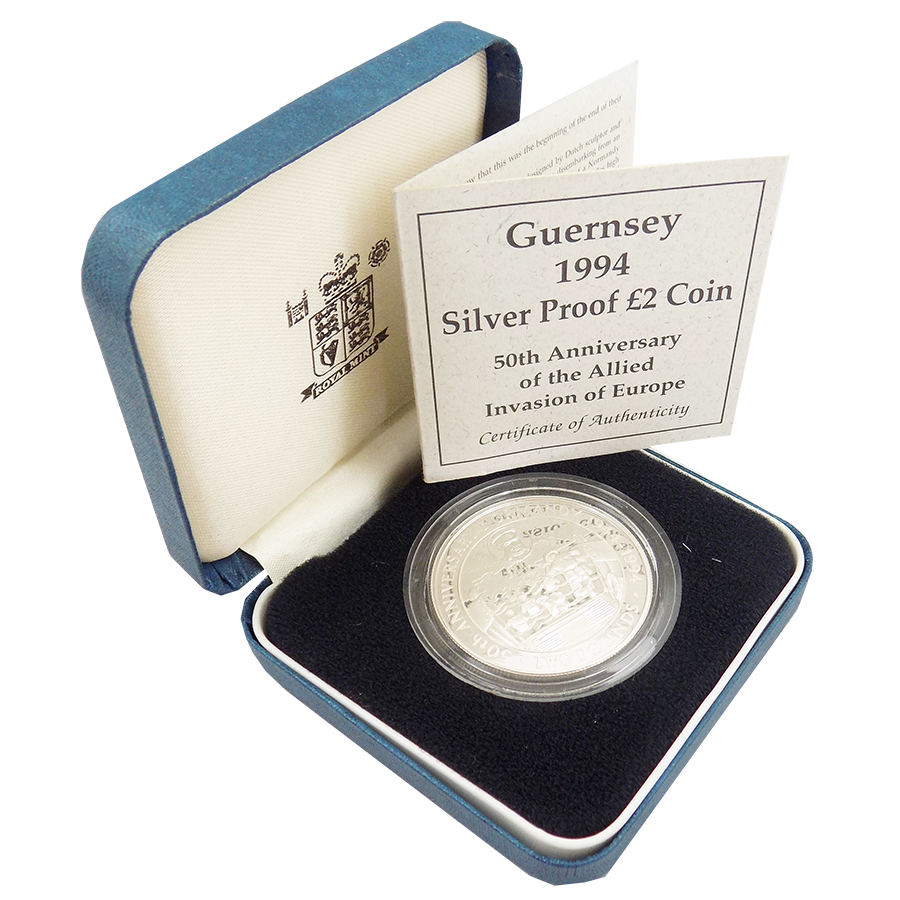 Pre-Owned 1994 Guernsey 50th Anniversary of the Allied Invasion of Europe £2 Silver Proof Coin - VAT