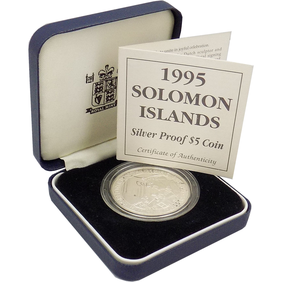 Pre-Owned 1995 Soloman Islands Proof $5 End of WWII In the Pacific Silver Coin - VAT Free
