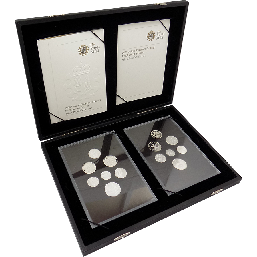 Pre-Owned 2008 UK Coinage Emblems of Britain Silver Proof 14 Coin Collection - VAT Free