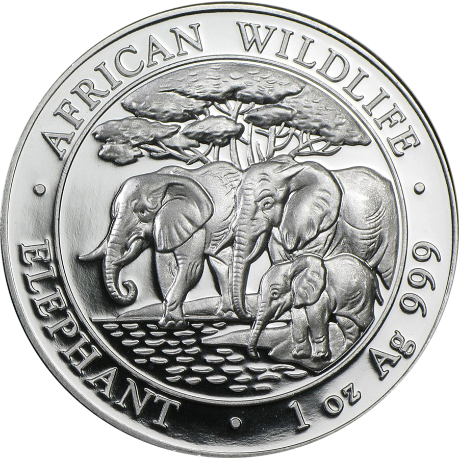 Pre-Owned 2013 Somalian Elephant 1oz Silver Coin - VAT Free