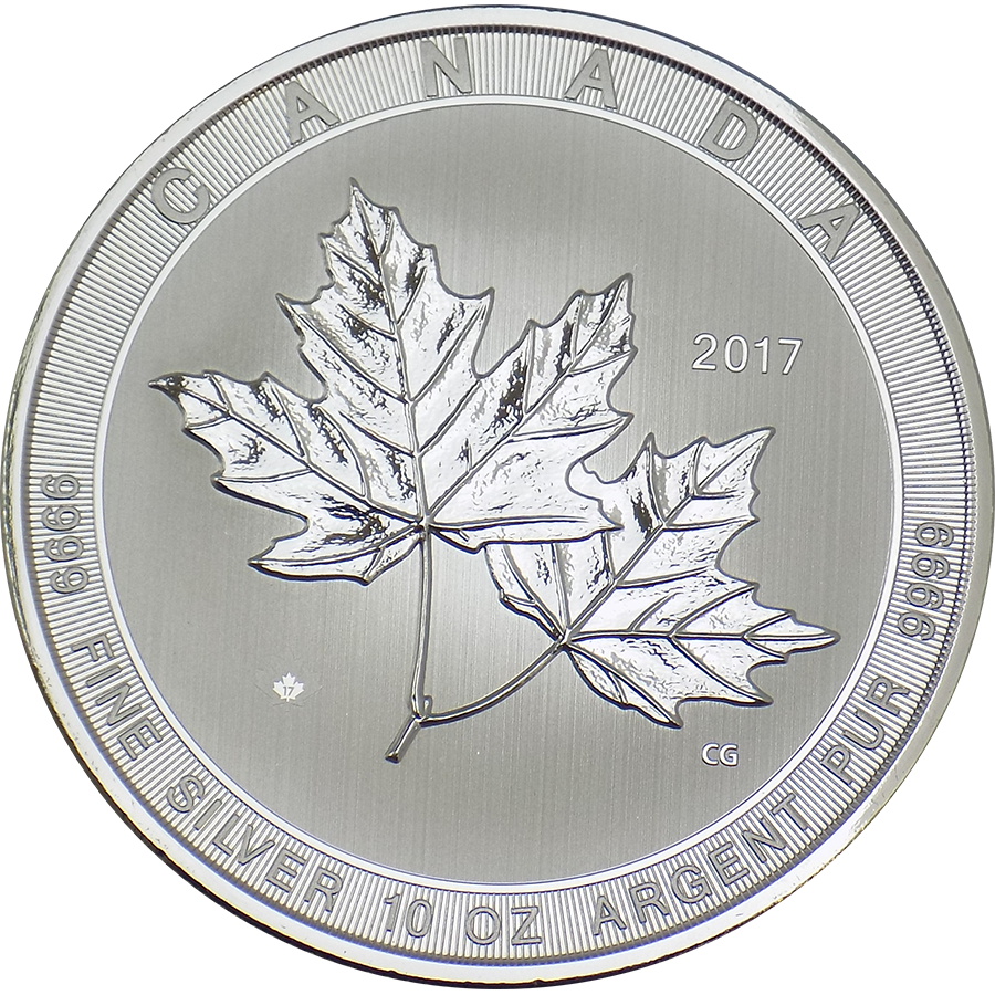 2017 Canadian Maple 10oz Silver Coin - Second Quality Capsule