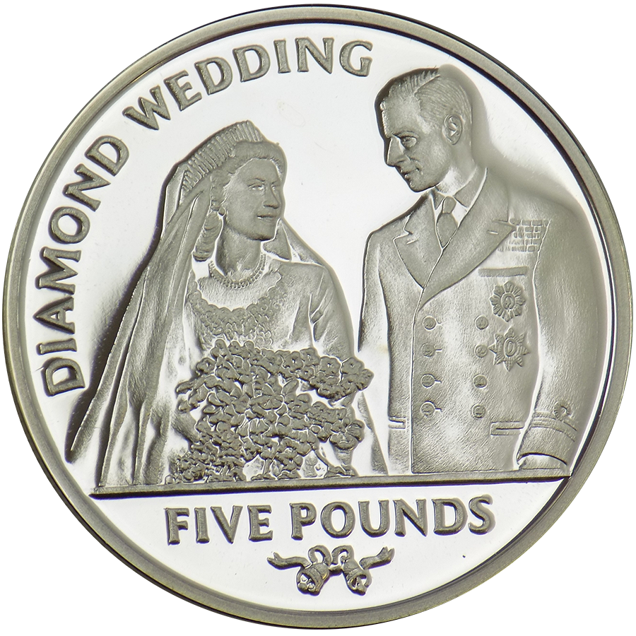 Pre-Owned 2007 Gibraltar Diamond Wedding £5 Proof Design Silver Coin - VAT Free