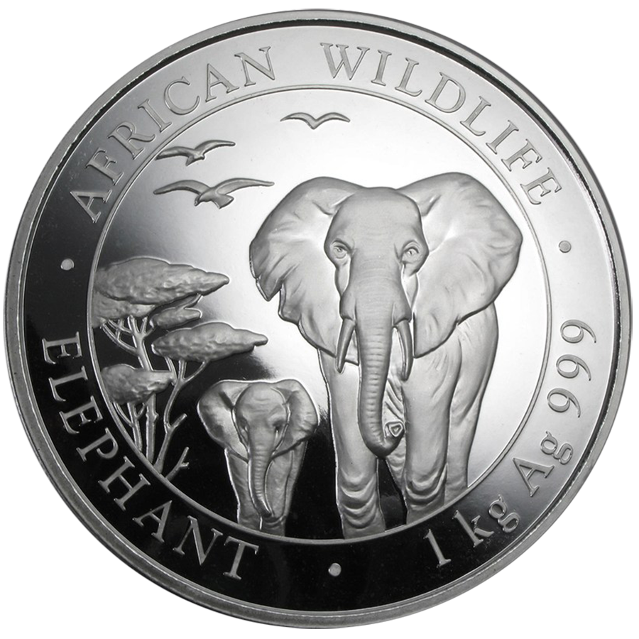 Pre-Owned 2015 Somalian Elephant 1kg Silver Coin - VAT Free