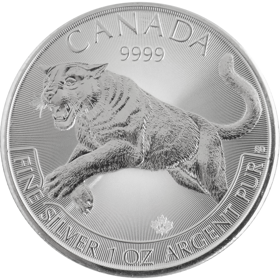 Pre-Owned 2016 Canadian Cougar 1oz Silver Coin - VAT Free