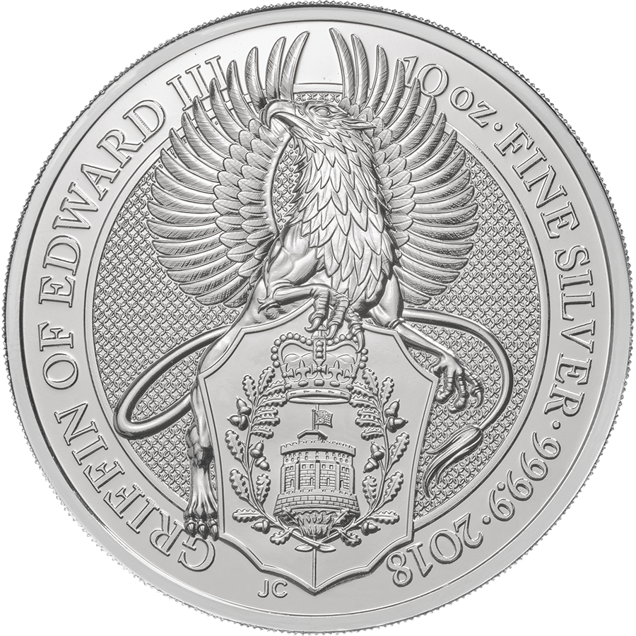2018 UK Queen's Beasts The Griffin 10oz Silver Coin