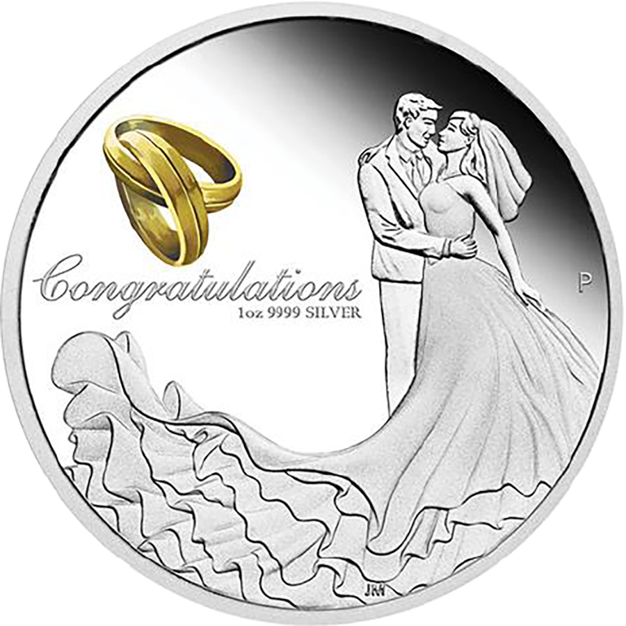 2018 Australian Proof Wedding 1oz Silver Coin