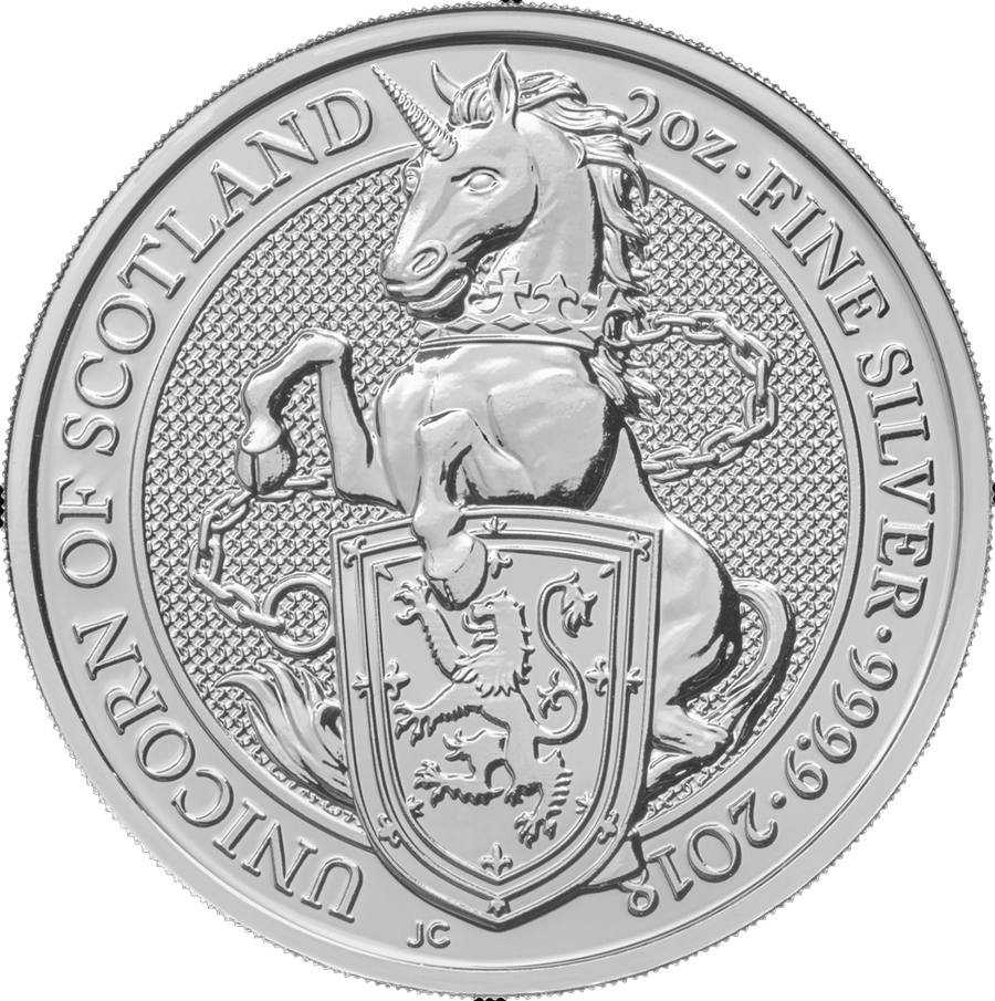 Pre-Owned 2018 UK Queen's Beasts The Unicorn 2oz Silver Coin - VAT Free