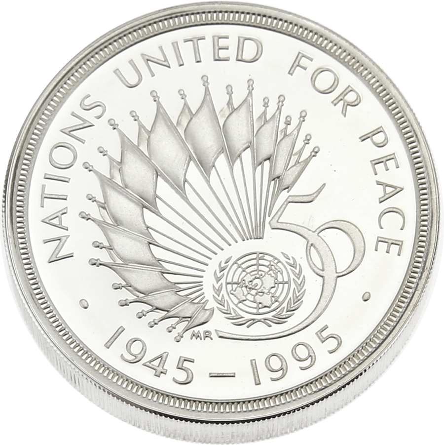 Pre-Owned 1945-1995 UK 50th Anniversary of United Nations Silver Piedfort Proof £2 Coin - VAT Free (Image 2)