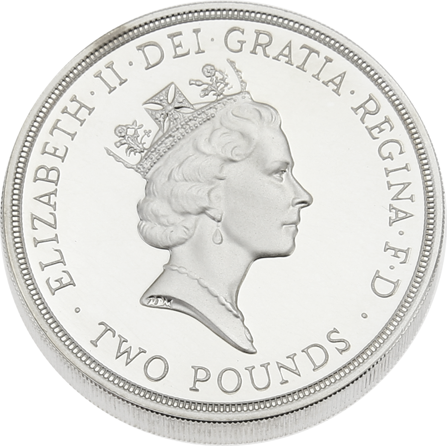 Pre-Owned 1945-1995 UK 50th Anniversary of United Nations Silver Piedfort Proof £2 Coin - VAT Free (Image 3)