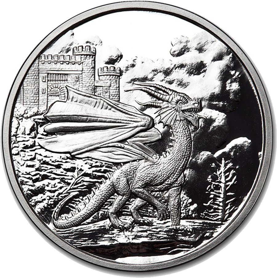 Celtic Lore: Welsh Red Dragon 5oz Silver Proof Round