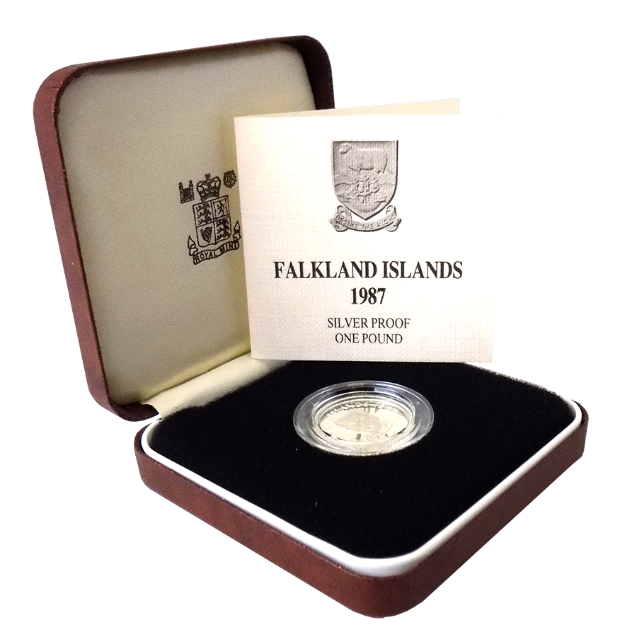 Pre-Owned 1987 Falklands Islands Proof £1 Silver Coin - VAT Free