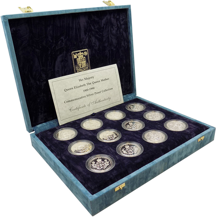Pre-Owned 1900-1990 UK Queen Mother Silver Proof 12-Coin Collection - VAT Free