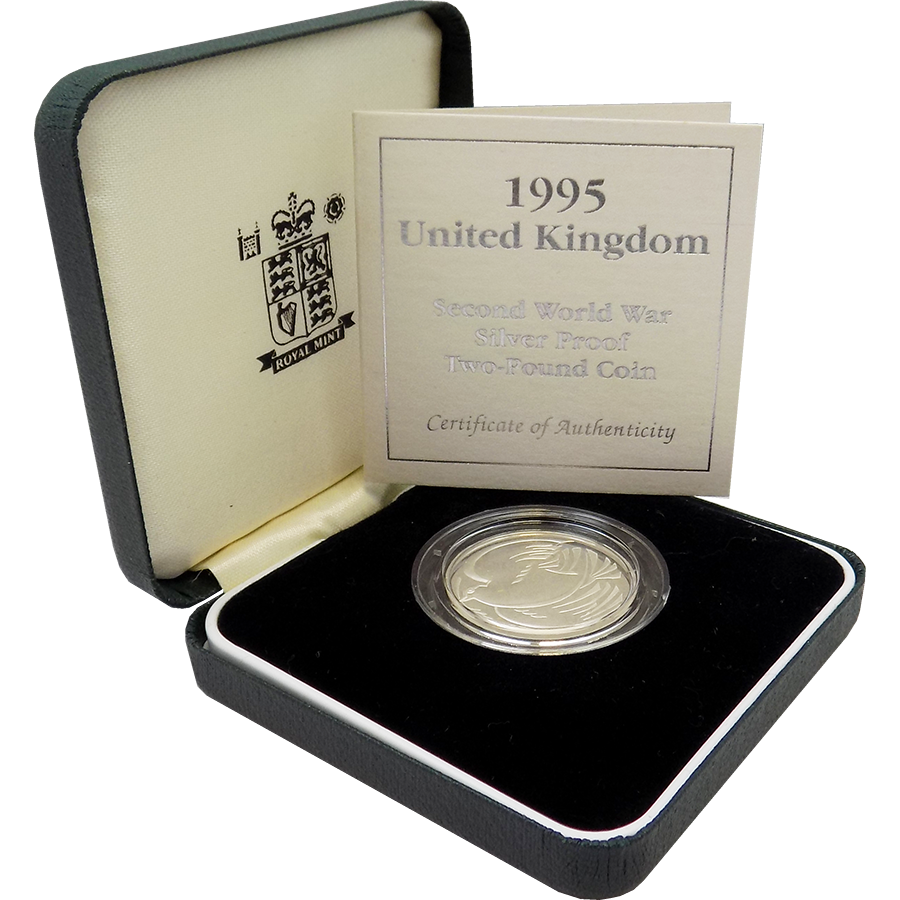 Pre-Owned 1995 UK WWII Peace Dove Silver Proof £2 Coin - VAT Free