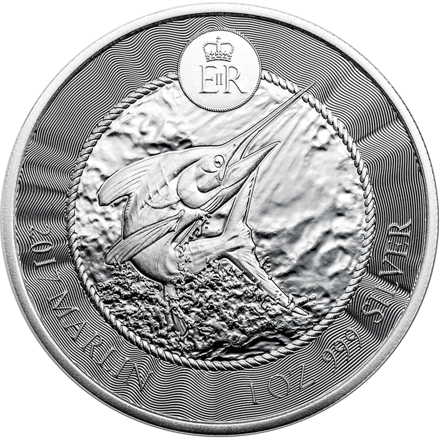 Pre-Owned 2017 Cayman Islands Marlin 1oz Silver Coin - VAT Free