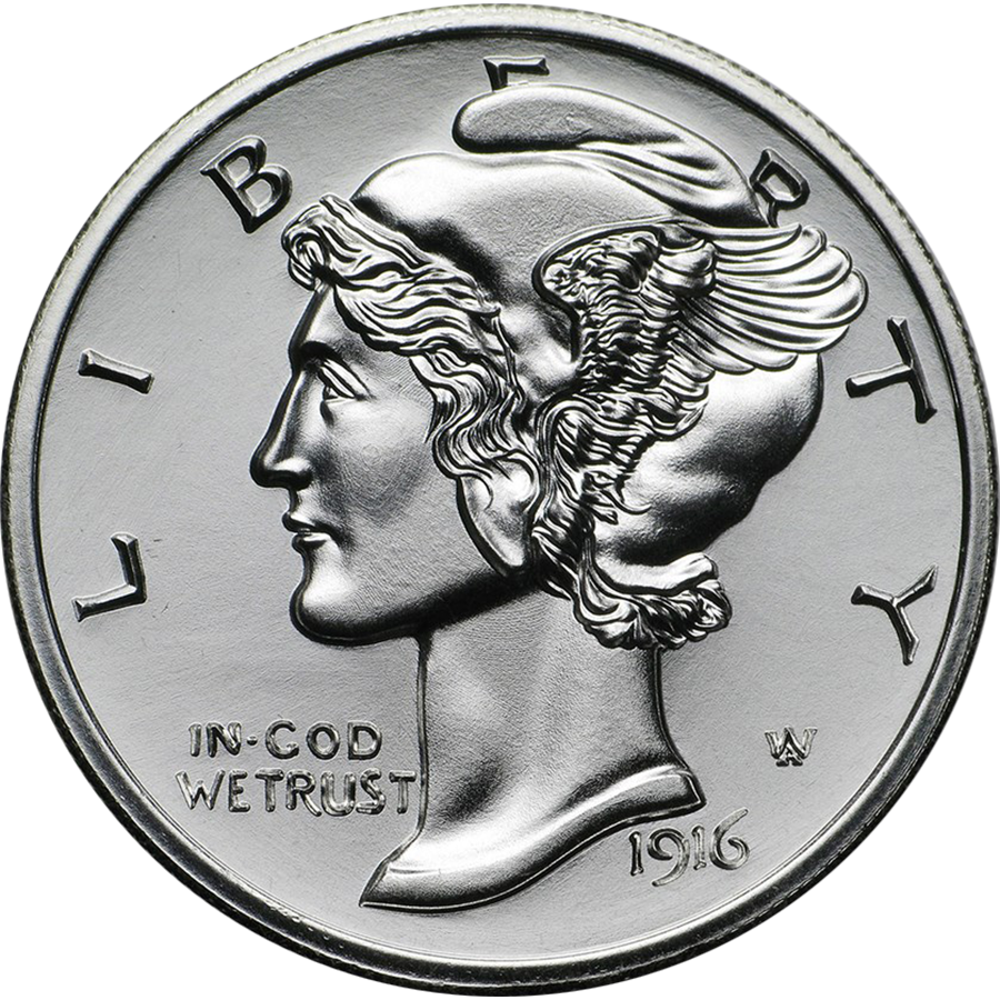 Winged Liberty Mercury Dime 2oz Silver Round