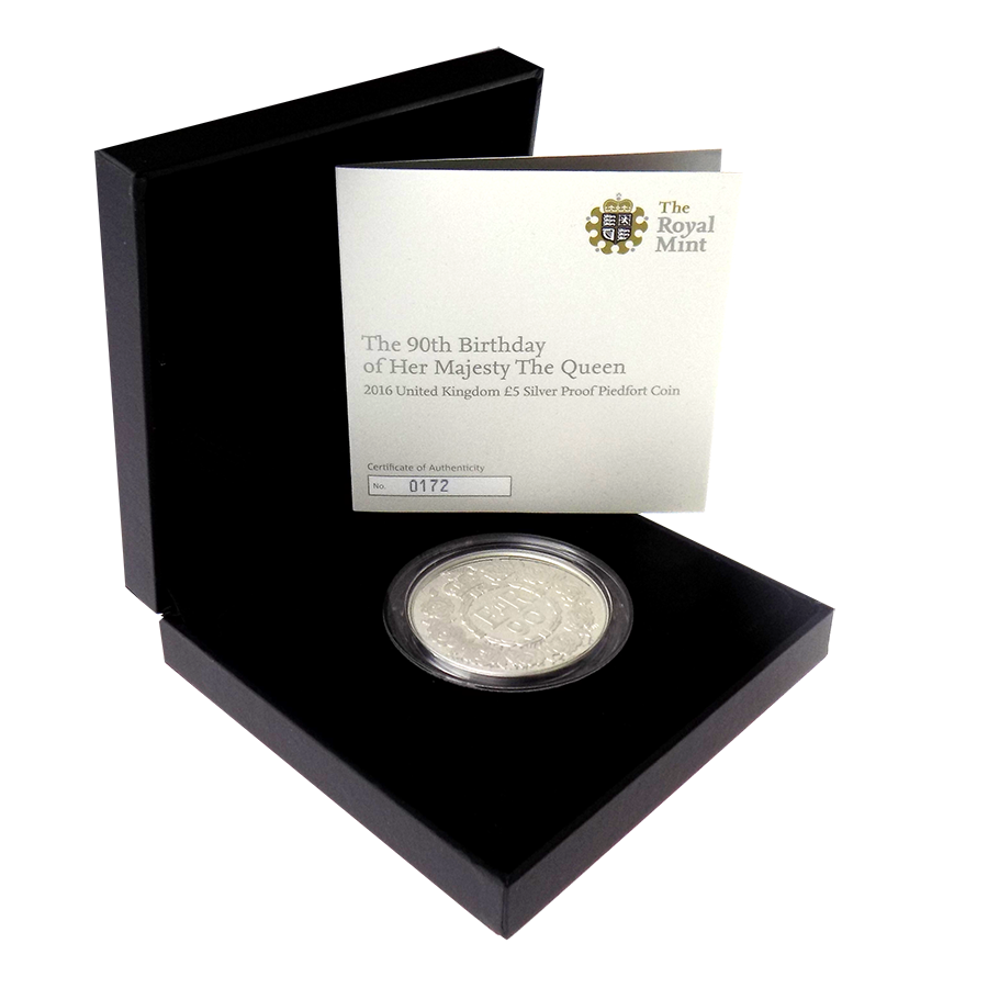 Pre-Owned 2016 UK 90th Birthday of Her Majesty The Queen £5 Silver Proof Piedfort Coin - VAT Free