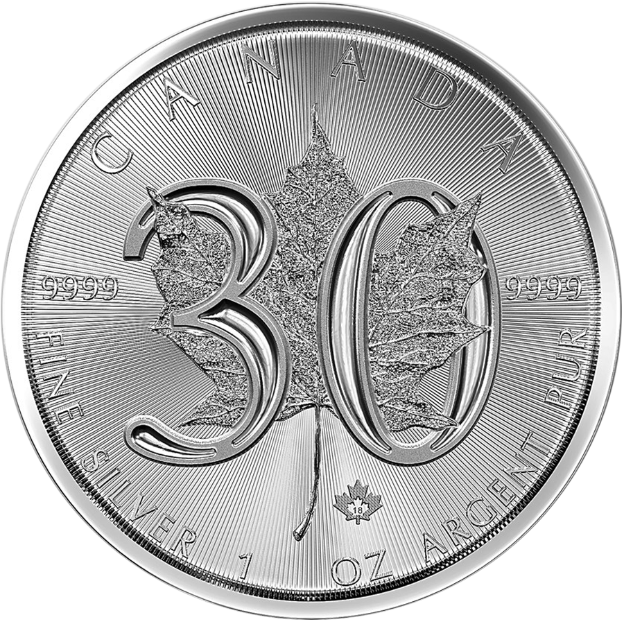 2018 Canadian Maple 30th Anniversary 1oz Silver Coin