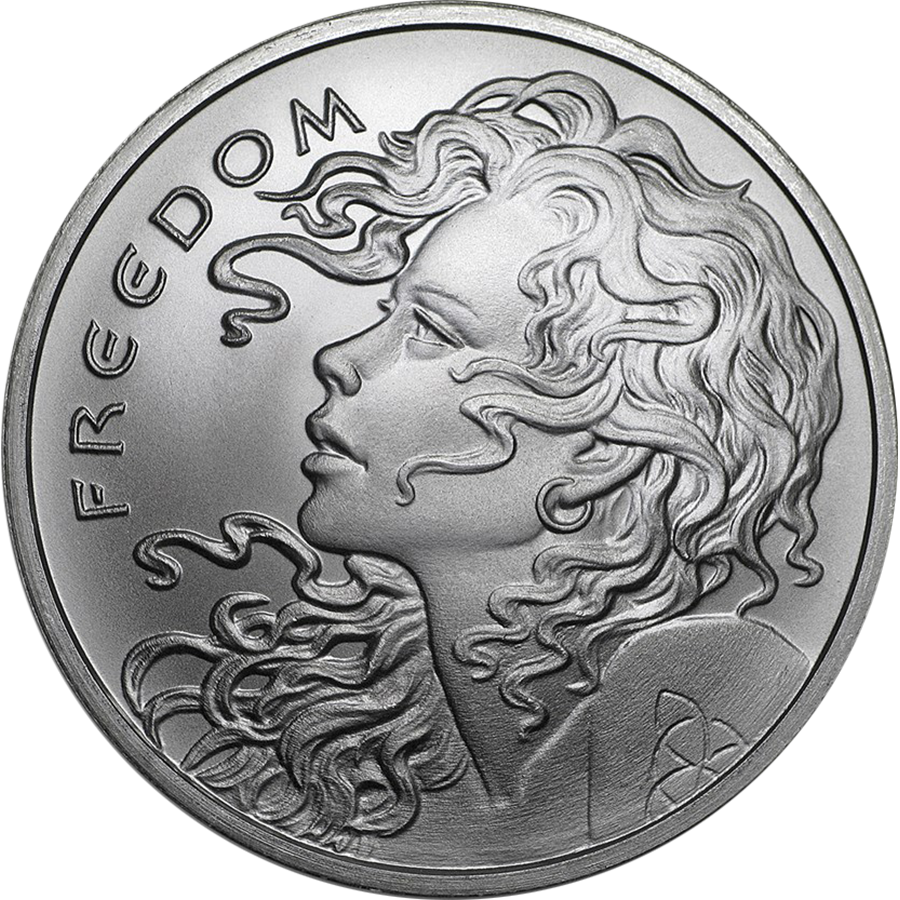 2018 USA Freedom Girl 1oz Silver Shield Round (Image 1)