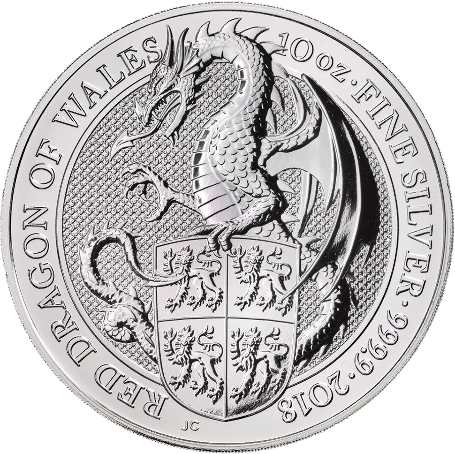 2018 UK Queen's Beasts The Dragon 10oz Silver Coin (Image 1)