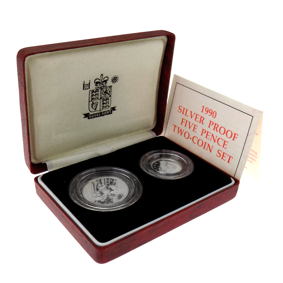 Pre-Owned 1990 UK Proof 5p Silver 2 Coin Set - VAT Free