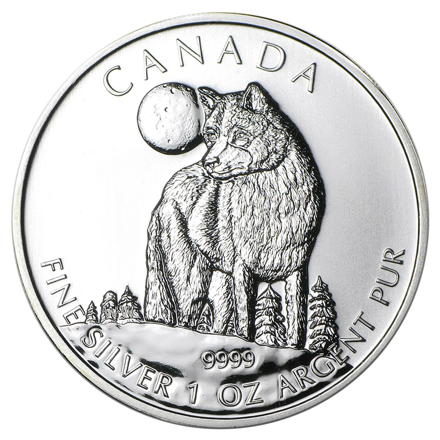 Pre-Owned 2011 Canadian Timber Wolf 1oz Silver Coin - VAT Free