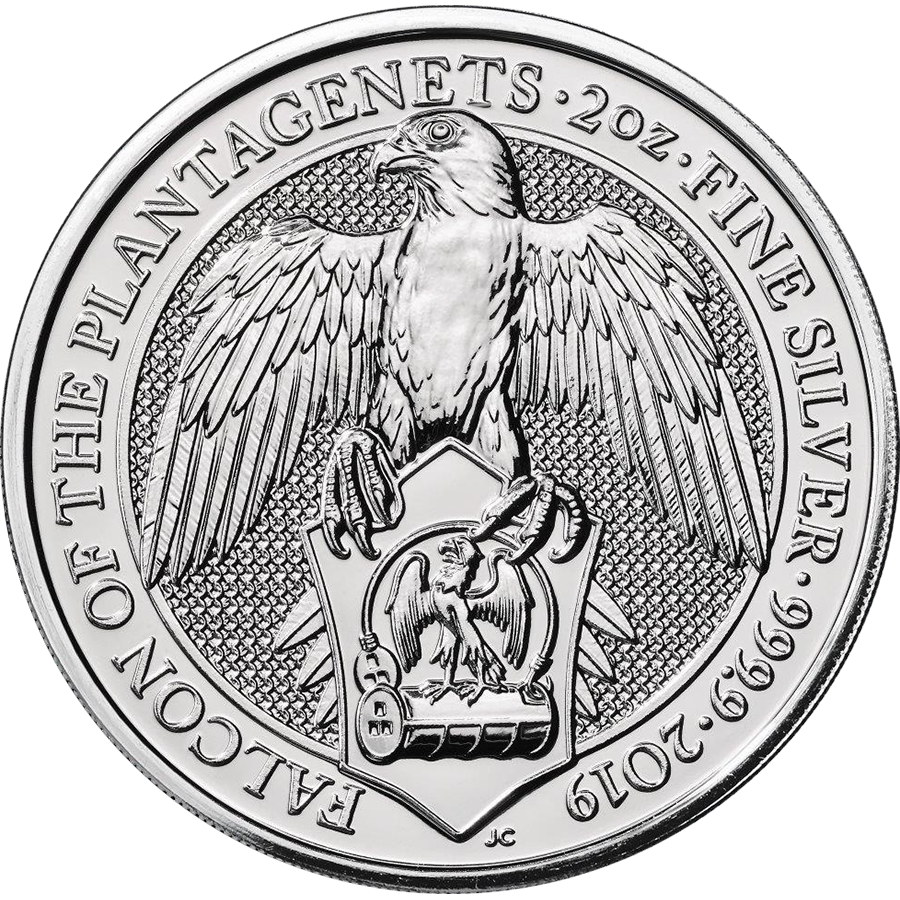 2019 UK Queen's Beasts The Falcon of the Plantagenets 2oz Silver Coin