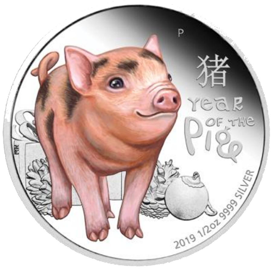 2019 Australian Lunar Baby Pig 1/2oz Silver Proof Coin