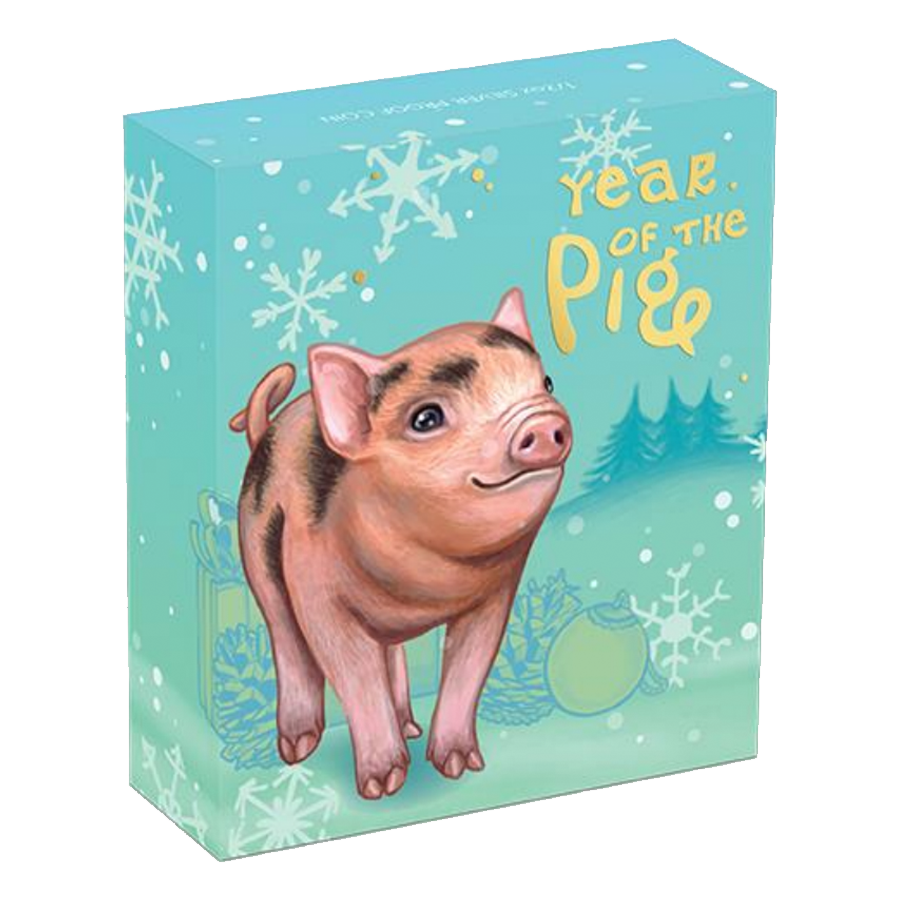 2019 Australian Lunar Baby Pig 1/2oz Silver Proof Coin (Image 4)