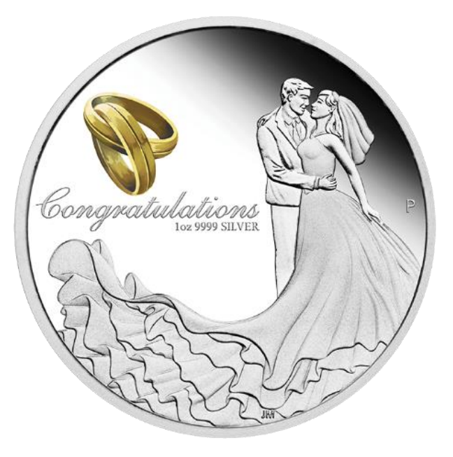 2019 Australian Proof Wedding 1oz Silver Coin