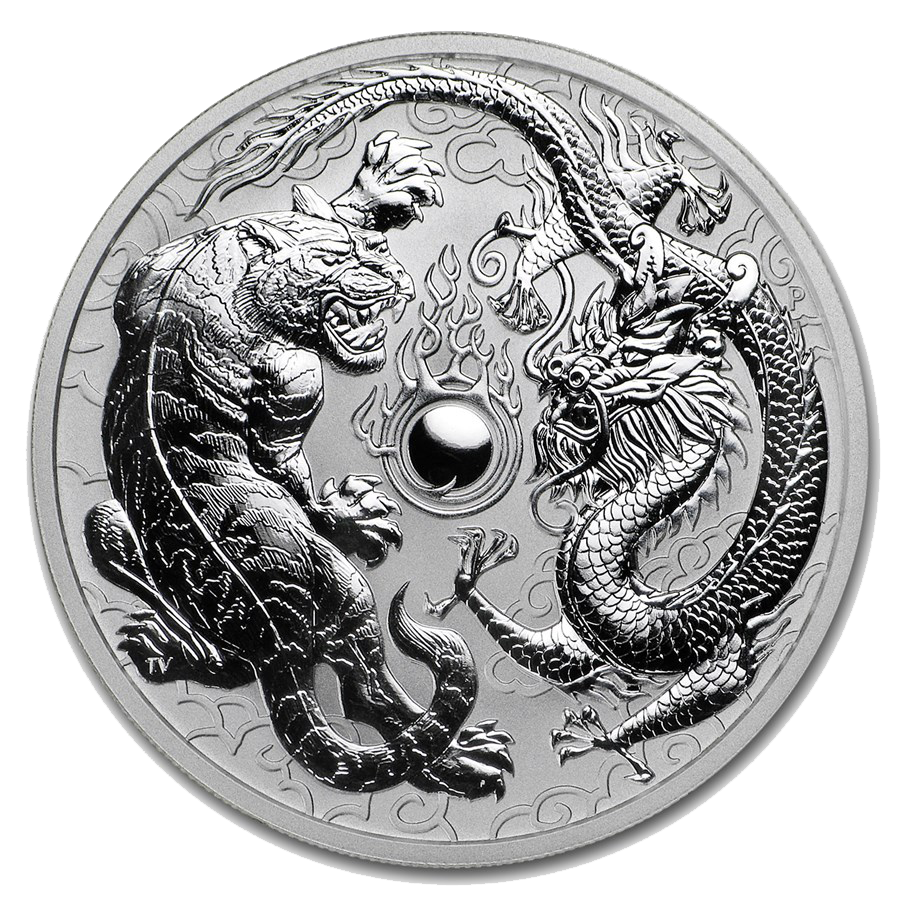 Pre-Owned 2018 Australian Tiger & Dragon 1oz Silver Coin - VAT Free