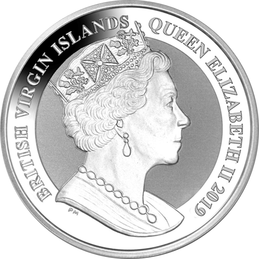 2019 British Virgin Islands Una & The Lion 1oz Silver Frosted Coin (Image 2)