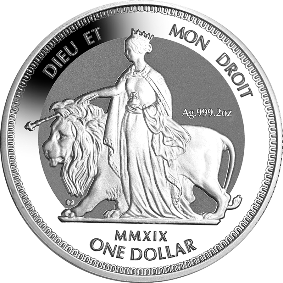 2019 British Virgin Islands Una & The Lion 2oz Silver Frosted Coin (Image 1)