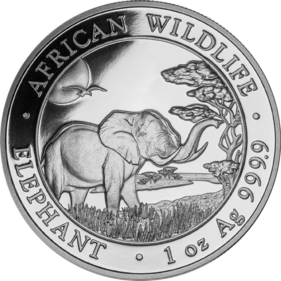 Pre-Owned Somalian Elephant 1oz Silver Coin - Mixed Dates - VAT Free