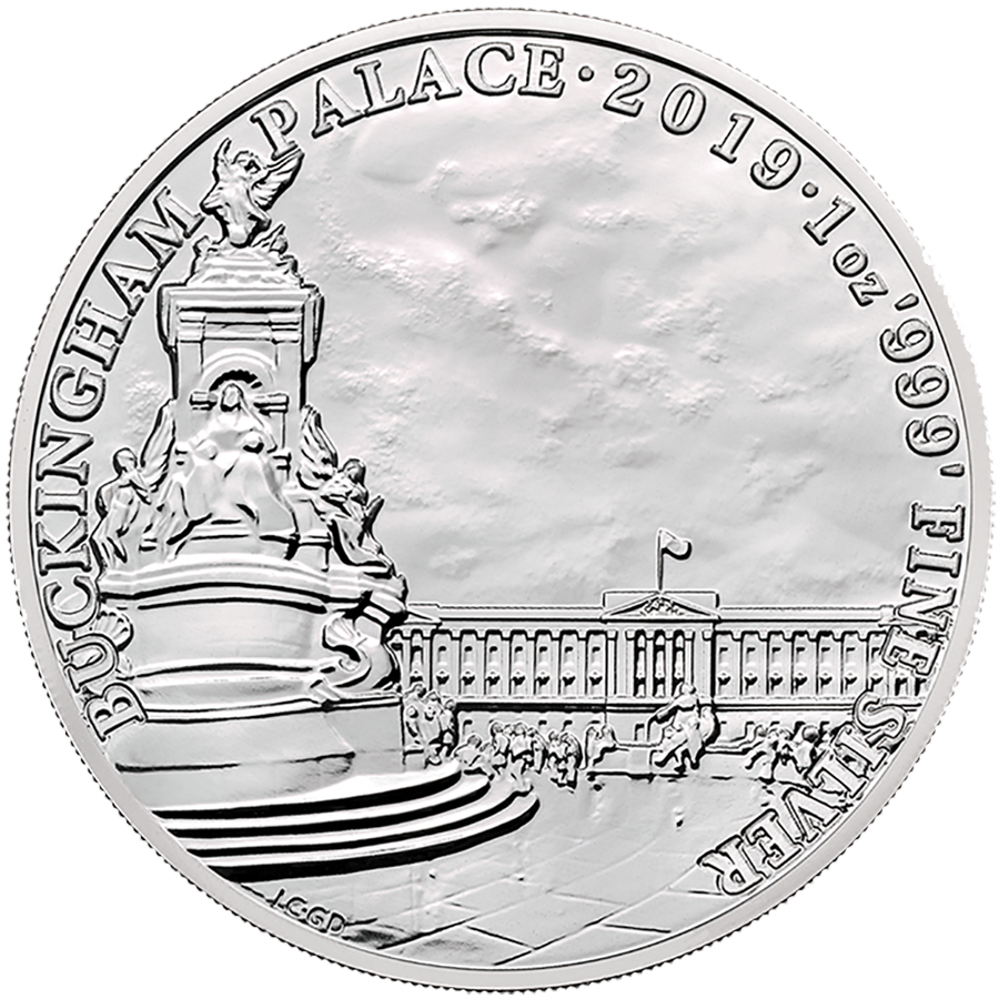 2019 UK Landmarks of Britain Buckingham Palace 1oz Silver Coin (Image 1)