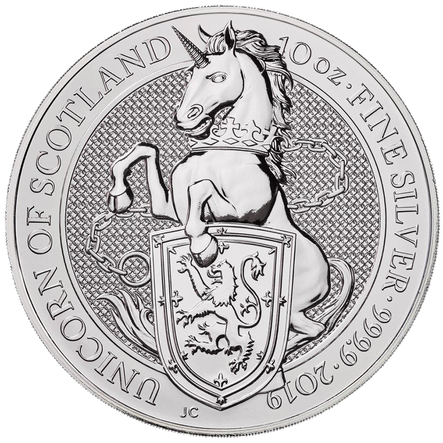 Pre-Owned 2019 UK Queen's Beasts The Unicorn 10oz Silver Coin - VAT Free