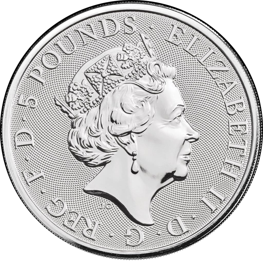 2020 UK Queen's Beasts The White Lion of Mortimer 2oz Silver Coin (Image 2)